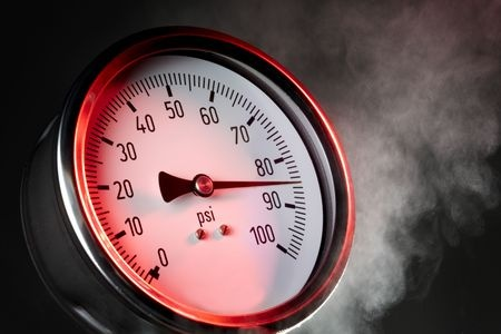 6832211 - pressure gauge under extreme stress with steam and red warning light
